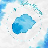 Carte d'île d'aquarelle d'Alegranza en turquoise Photo libre de droits