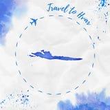 Carte d'île d'aquarelle de Hvar dans des couleurs bleues illustration stock