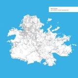 Carte d'île de l'Antigua Images libres de droits