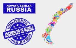 Carte d'îles de Novaya Zemlya de technologie de collage et rayé réuni dans le filigrane de la Russie illustration libre de droits