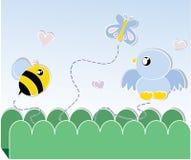 Carte d'abeille et d'oiseau Photo libre de droits