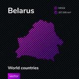 Carte d'abrégé sur vecteur de Belorus avec la texture rayée violette et le fond foncé rayé illustration libre de droits