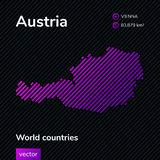 Carte d'abrégé sur vecteur de l'Autriche dans les couleurs de rose, violettes et noires illustration stock