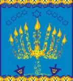 Carte d'abrégé sur menorah de Hanoucca Photographie stock