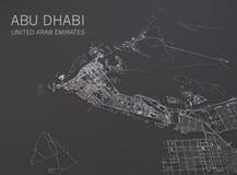Carte d'Abu Dhabi, vue satellite, carte dans le négatif, Emirats Arabes Unis Photographie stock