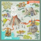 Carte d'advernture de terre d'imagination pour la cartographie avec l'aspiration colorée de main de griffonnage dans l'illustrati illustration stock