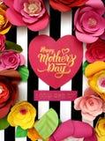 Carte d'affiche de jour de mères décorée des fleurs et du cerf Photographie stock libre de droits