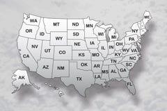 Carte d'affiche des Etats-Unis d'Amérique avec des noms d'état et de l'ombre sur le fond de ciel illustration stock