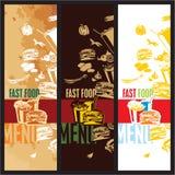 Carte d'aliments de préparation rapide Image stock