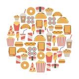 Carte d'aliments de préparation rapide Image libre de droits