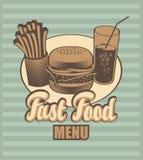 Carte d'aliments de pr?paration rapide Photos stock