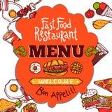Carte d'aliments de pr?paration rapide Photo stock