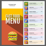Carte d'aliments de pr?paration rapide Ensemble d'icônes de nourriture et de boissons Conception plate de style Photographie stock