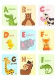 Carte d'alphabet avec les animaux A à I illustration stock