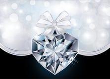 Carte d'amour avec le coeur de diamant Images libres de droits