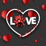 Carte d'amour avec les coeurs et l'arc rouges illustration stock
