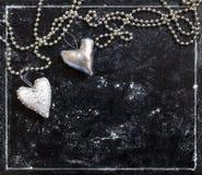 Carte d'amour Carte postale de jour du `s de Valentine argent de coeur Photos libres de droits