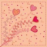 Carte d'amour de coeurs Photo stock
