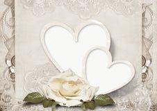 Carte d'amour de cru avec des roses Photographie stock libre de droits