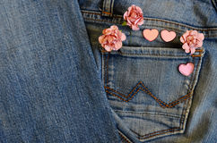 Carte d'amour de jeans de poche Photo stock