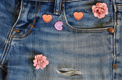 Carte d'amour de jeans de poche Images stock