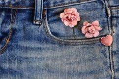 Carte d'amour de jeans de poche Image stock