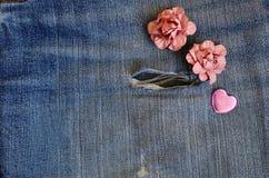 Carte d'amour de jeans de poche Image libre de droits