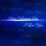 Carte d'amour de jour de valentines avec je t'aime un fond de message et de bokeh Photographie stock