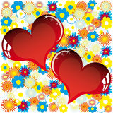 Carte d'amour de Valentine avec le coeur des fleurs Images stock