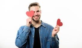 Carte d'amoureux Salutation romantique Ventes de jour de valentines Amour et romance Homme heureux avec le coeur décoratif datte photos libres de droits