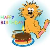 Carte d'animal de dessin animé de joyeux anniversaire Photo libre de droits