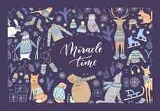 Carte d'animal de Noël illustration libre de droits