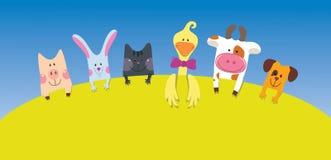 Carte d'animaux de ferme de dessin animé Photo libre de droits