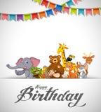 Carte d'animaux de joyeux anniversaire illustration stock