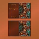 Carte d'annata con il modello e gli ornamenti floreali della mandala Fotografia Stock