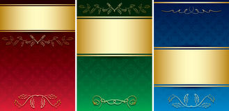Carte d'annata con l'ornamento decorativo dell'oro Fotografia Stock