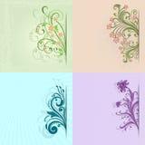 4 carte d'annata di colore del fiore Fotografia Stock Libera da Diritti
