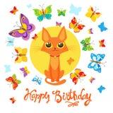Carte d'anniversaire avec Cat And Butterfly Carte de voeux Carte puérile douce avec le beau chat Photographie stock libre de droits
