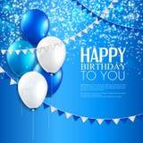 Carte d'anniversaire avec des ballons, et texte d'anniversaire Image libre de droits