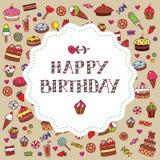 Carte d'anniversaire avec des bonbons Photographie stock
