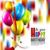 Carte d'anniversaire avec des confettis et main jugeant Photographie stock libre de droits
