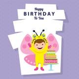 Carte d'anniversaire avec des enfants chez le costume animal Image stock