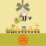 Carte d'anniversaire avec l'abeille illustration de vecteur