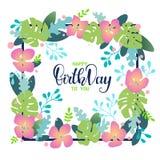 Carte d'anniversaire avec l'illustration florale d'imagination illustration stock