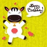 Carte d'anniversaire avec la vache heureuse Photographie stock