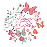 Carte d'anniversaire avec le beaux papillon et fleurs Images stock