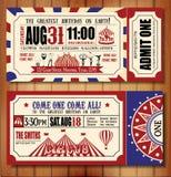 Carte d'anniversaire avec le billet de cirque Photo libre de droits