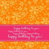 Carte d'anniversaire avec le rétro fond de fleur Photos libres de droits