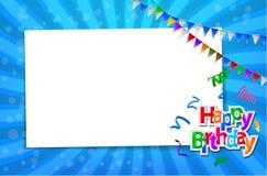 Carte d'anniversaire avec le signe de papier Photographie stock libre de droits