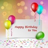 Carte d'anniversaire avec le signe et les ballons colorés Photographie stock